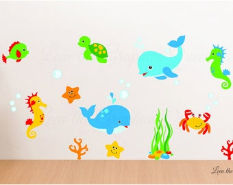 Sea Animal Wall Decal - Reusable Fabric Decals - Whale - Dolphin Removable Wall Decal - Crab Turtle Starfish Wall Decal - Marine Scene
