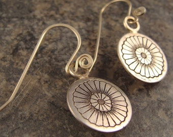 Hand Engraved Sterling Silver Floral Earrings