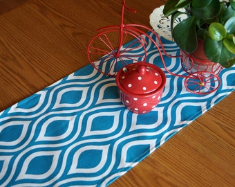 Turquoise Table Runner, Party Decor, Wedding Supplies,Nicole Modern Premier Print