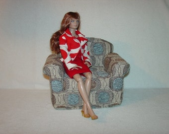 16 inch Doll Armchair Chenille Teal Brown Beige Handmade Furniture