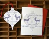 letterpress knit sweater ornament holiday card deer