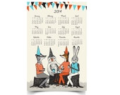 2014 Garden Party Animals Wall Calendar - 11x17 Poster - papersparrow