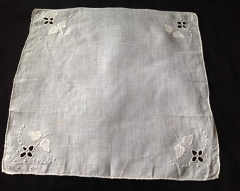 Vintage White on White Cutwork and Embroidery Ladies' Hankie/Handkerchief