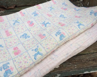 Pair of Vintage Well Loved White with Blue and Pink Baby Quilts