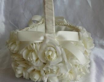 Flower Girl Basket Bridal Basket Wedding Basket Ivory Rose Basket