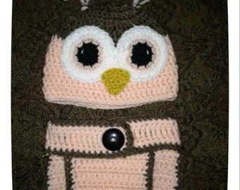 Pink Owl Baby Hat & Diaper Cover - 0 to 3 months