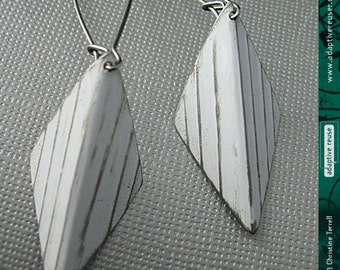 Textured White Harlequins--Upcycled Tin Earrings--You Choose the Color