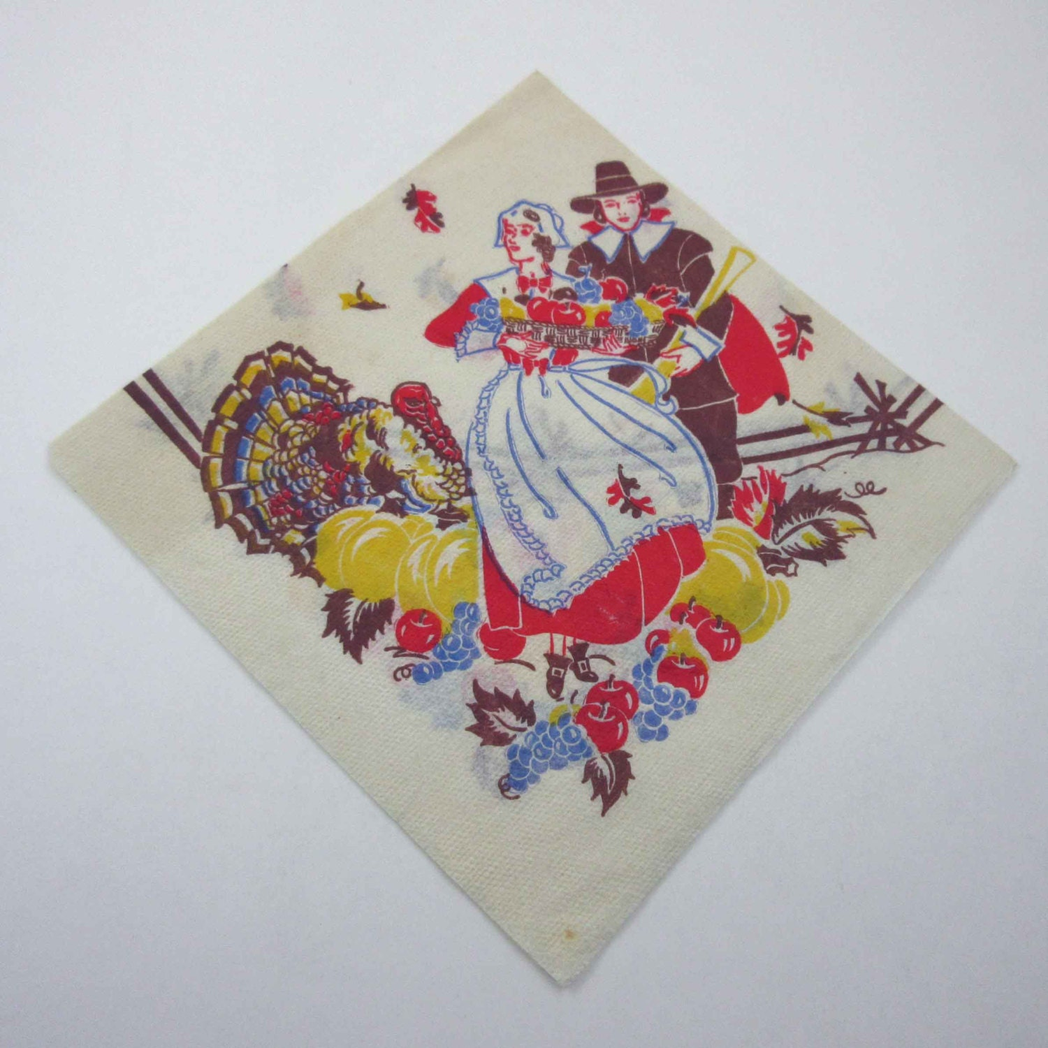 Vintage thanksgiving paper party napkin with pilgrims turkey for Turkey napkins
