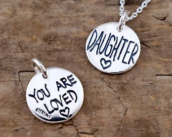 Daughter Necklace - You Are Loved Charm - Jewelry for Daughter