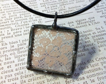 Antique Pink Lace Pendant Soldered Charm Vintage Lace Repurposed Soldered Glass Charm