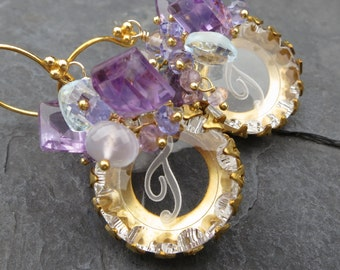 Monogrammed gemstone earrings - initial T - vintage etched glass disk - amethyst, blue topaz, tanzanite, chalcedony - cluster earrings