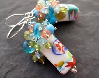 Venetian glass bead earrings in sterling silver - peridot, turquoise, green garnet, orange quartz - mod gemstone jewelry - bright pop colors