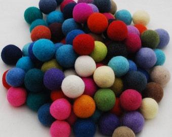 3cm - 100% Wool Felt Balls - 100 Count - Assorted Colors