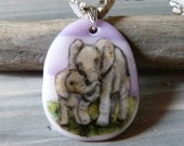 Elephant mom and baby  -  fused glass pendant
