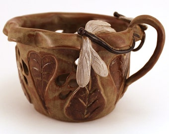 Wheel Thrown Stoneware Pottery Candle Holder Carved Leaves Sculpted Dragonflies Free Shipping in US