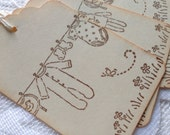 Vintage Inspired New Baby Gift Tags - Baby Shower Favour Tag - Set of 6 - Clothesline