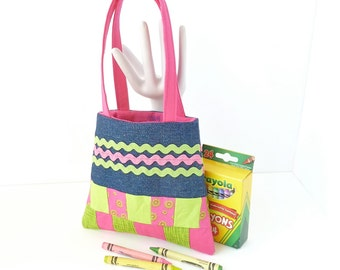 toddler girls cute purse. first birthday girlie girl gift. pink green denim baby toy. activities for toddlers