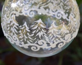Hand Painted Glitter Ornament White and Gold Trees