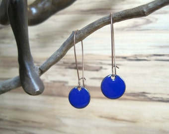 Dangle Earrings, Cobalt Blue Drop Earrings, Royal Blue Earrings, Copper Enamel Jewelry, Nickel Free Kidney Earwires, Handmade Earrings
