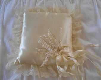 sweet vintage ring bearers pillow, candlelight ivory satin, lace, millinery lily of the valley flowers, satin ribbons, vintage wedding charm