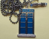 Doctor Who tardis pendant with sonic screwdriver