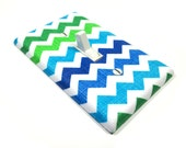 Green Blue and White Chevron Light Switch Cover Boy Nursery Decor Boy Bedroom Switch Plate Switchplate