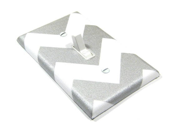 Silver Shimmer and White Chevron Light Switch Cover Metallic Hollywood Sparkle Gray Home Decor