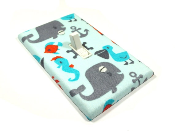Whale Light Switch Plate Cover Boys Nursery Decor Under The Sea