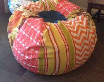 NEW Vibrant beach bean bag in coral orange with flamingos and stripes