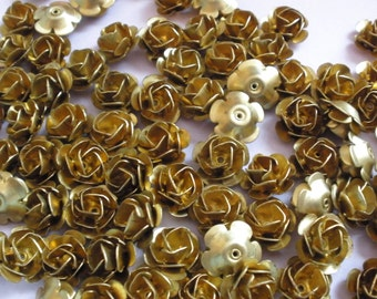 Vintage Brass Roses (16)(12mm)High Quality Made in the USA Three Layer Rose (has a center hole)