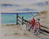 Pedal Beach Red Bike Watercolor