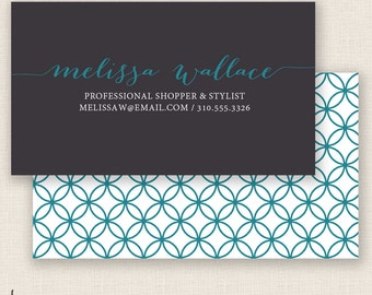 WHITE & TEAL - Double Sided - DIY Printable Business Card Template