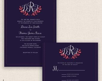 SALMON & MONOGRAM - DIY Printable Wedding Set - Invitation and Reply Card