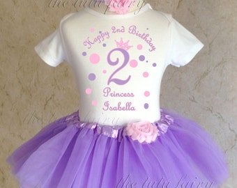 pink purple polka dots princess crown first 1st 2nd 3rd 4th 5th 6th 7th Birthday Personalized Custom Name Age Shirt & Tutu Set Girl Outfit