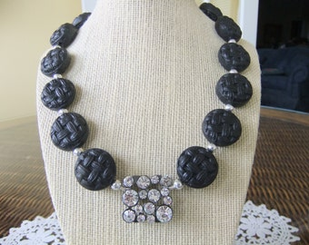 Textured Black Coin Beaded Necklace with Square Rhinestone Center
