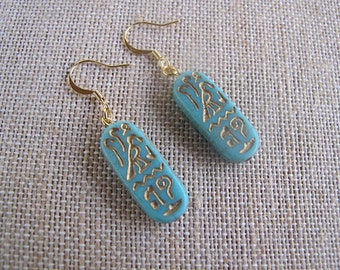 Aqua Egyptian Earrings, Aqua and Gold Earrings, Egyptian Earrings