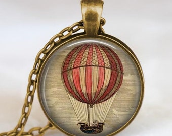 Hot air balloon antique bronze necklace , Steampunk jewelry , colorful hot air balloon pendant, zeppelin, travel adventurer