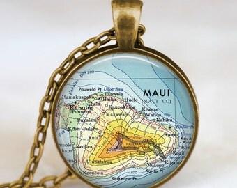 Maui islands hawaii map necklace, Maui map pendant, Maui map jewelry , maui map pendant jewelry  with gift bag
