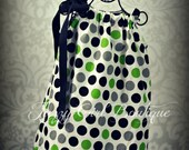 Girls Pillowcase Dress Baby Giraffe Dot Fabric with Black, Lime Green and Grey Dots and Large Black Ribbon that Ties Over One Shoulder