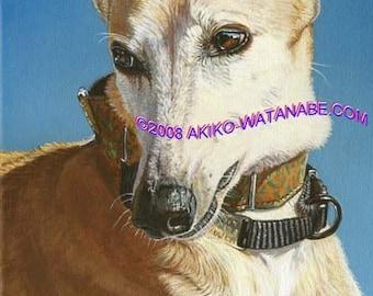 Akiko ORIGINAL 9x12 Painting Greyhound Rescue Dog