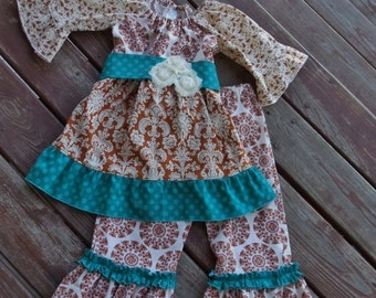 """Girls """"FLAVORS OF FALL"""" collection abby tunic and Bella pants sizes 12-18-24 mth 2-3-4-5-6-7-8"""