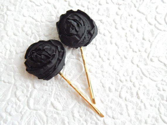 2 floral hairpins, black hairpin, ivory hairpin, rose hair-pins, fabric hairpins, 1 1/8 inch hairpins, hair accessory, womens accessory