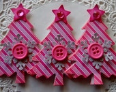 Christmas Tree Embellishments-Set Of 3-Pink Stripe
