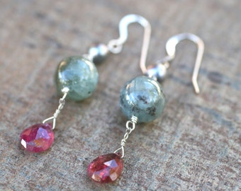 Pearl, Kyanite and Pink Tourmaline Gemstone Wire Wrapped Earrings, Gemstone Jewelry
