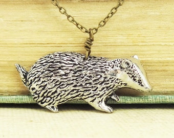 Badger Necklace. Antiqued Pewter and Antiqued Bronze Chain Necklace Pendant.