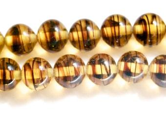 Vintage Tortoise Stripe Glass Beads Japan 10mm (6) jpn007C