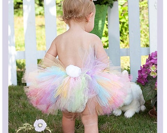Easter Bunny Tutu Dress Bunny Tail Tutu Toddler Easter Skirt 9 12 18 Months