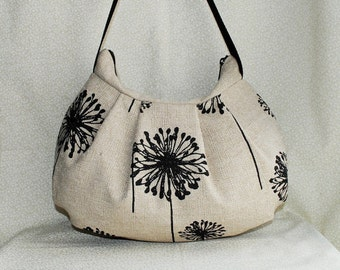 Pleated Bag // Shoulder Purse - Dandelion Black Denton