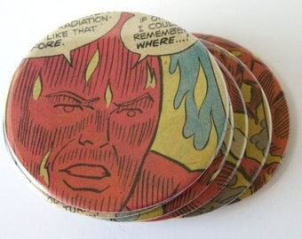 Human Torch Coasters // Recycled Vintage Comic Book // Fantastic Four