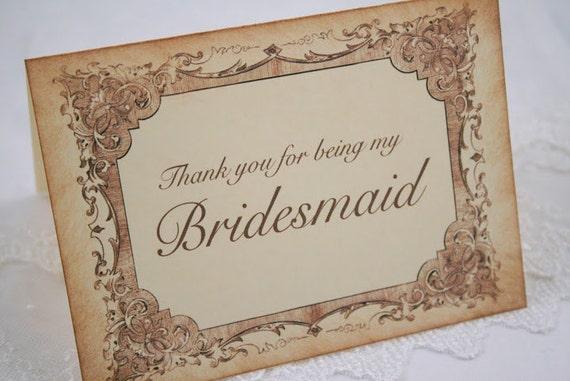 Bridesmaid Thank You Card Wedding Note Card